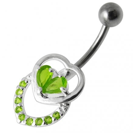 Fancy Silver Jeweled Multi Heart SS Curved Bar Belly Ring