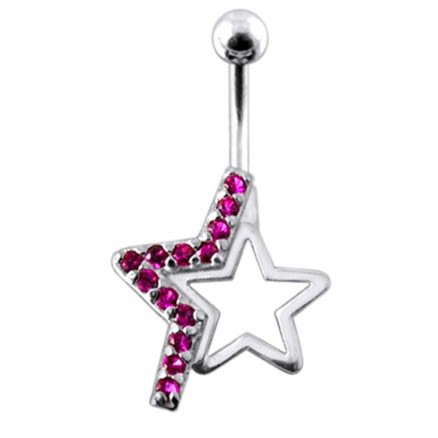 Silver Fancy Jeweled Star Banana Bar Belly Button RingSilver Fancy Jeweled Star Banana Bar Belly Button Ring