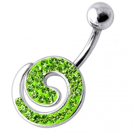 Fancy Spiral Jeweled Silver Belly Ring