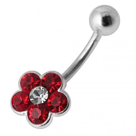 Fancy Jeweled Flower Silver SS Banana Bar Belly Ring Body Jewelry