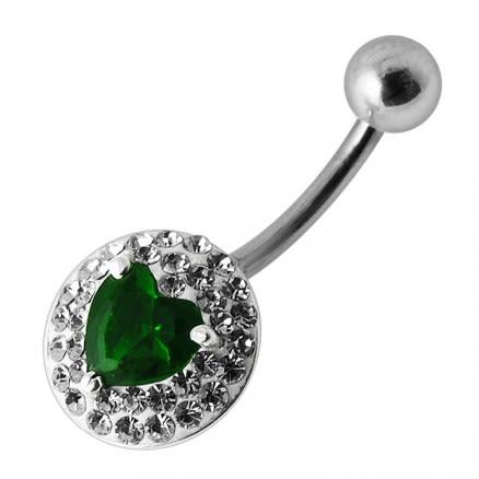 Silver Fancy  Single Heart Stone Jeweled Belly Ring Body Jewelry