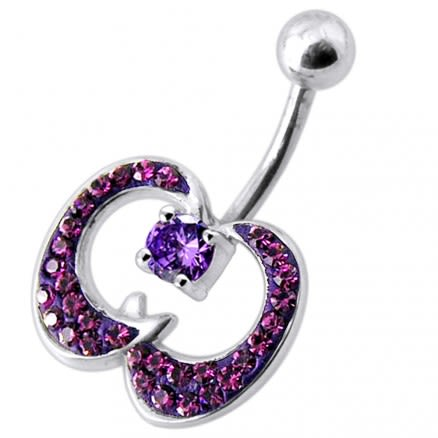 Multi Jeweled Apple Silver Belly Ring