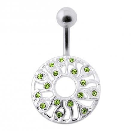 Fancy Zirconia Jeweled Silver SS Bar Banana Belly Ring