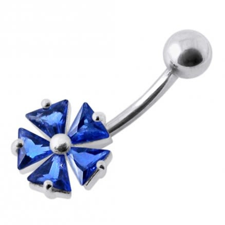 Irish Style Jeweled Silver Belly Ring