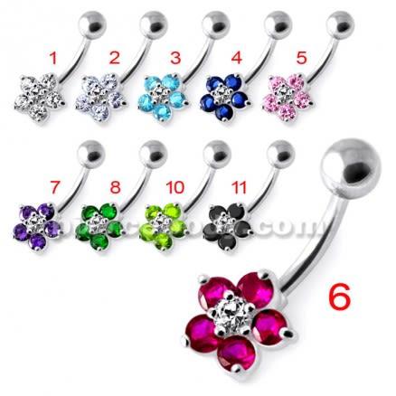 Jeweled Flower Non Dangling Navel Bar