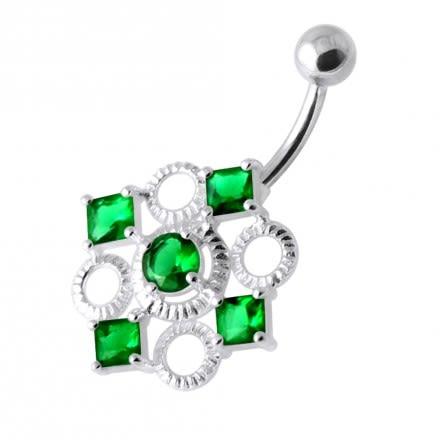 Fancy Jeweled Non Dangling Belly Bar PBN1154