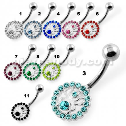 Jeweled Spider in Round Frame Navel Belly Piercing
