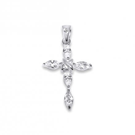 Sterling Silver Jeweled Cross Pendant, Cubic Zirconia stones
