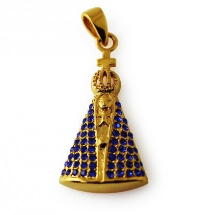 Virgin Mary Jeweled Pendant