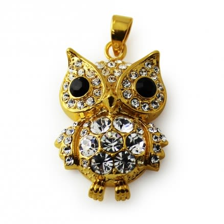 Gold Platted Jeweled OWL Pendant