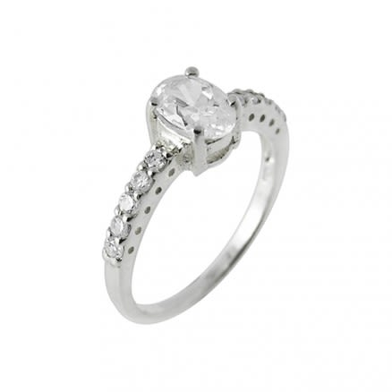 Round Jeweled Fashion Silver Finger Ring Body Jewelry