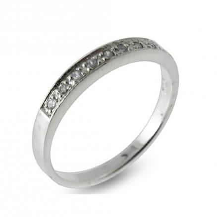 925 Sterling Silver Thin Stackable Eternity Finger CZ Ring