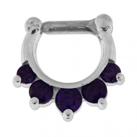 925 Sterling Silver 5 Paved Gems Septum Piercing