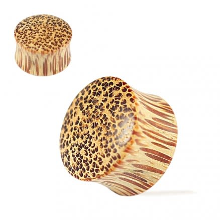 Double Flared Organic Coco Wood Convex Saddle Ear Gauges Plug