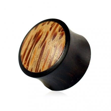 Double Flared Organic Iron and Coco Wood Convex Saddle Ear Gauges Plug