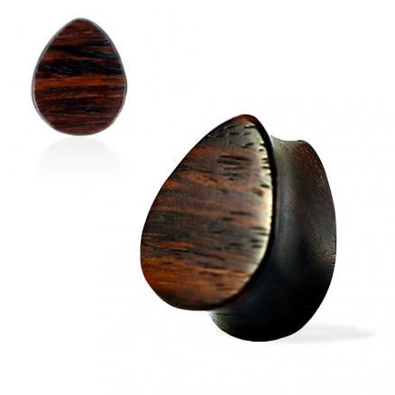 Double Flared Organic Sono Wood Flat Teardrop Saddle Ear Gauges Plug