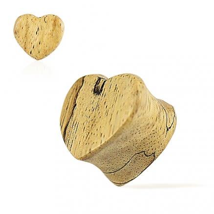 Double Flared Organic Tamarind Wood Heart Shape Saddle Ear Gauges Plug