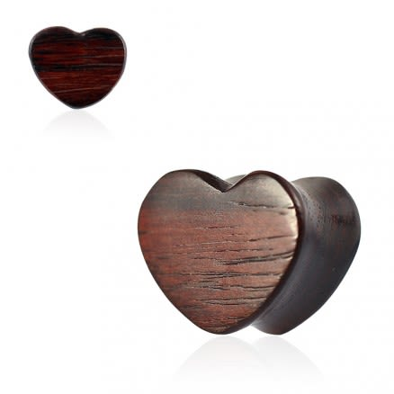 Double Flared Organic Sono Wood Heart Shape Saddle Ear Gauges Plug