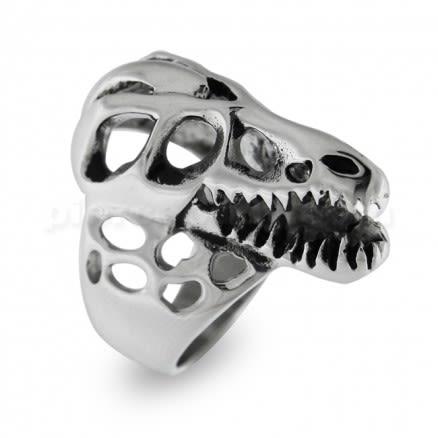 Dinosaur Broken Skull Shield Finger Ring
