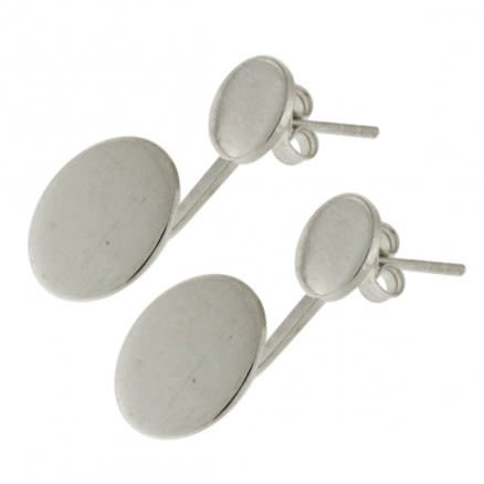 925 Sterling Silver plain Round Twins Ear Stud Ear Ring