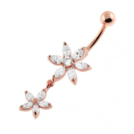 Moving Jeweled Flower Designed Belly Ring