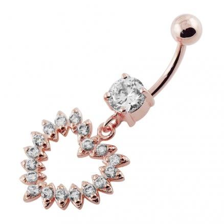 Jeweled Fancy Heart Silver Dangling Banana Bar Navel Belly Ring