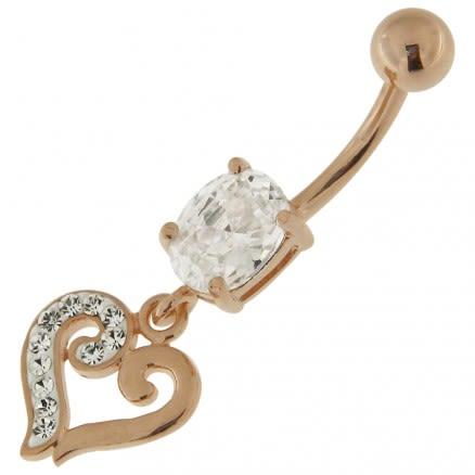 Jeweled Fancy Heart Dangling Belly piercing