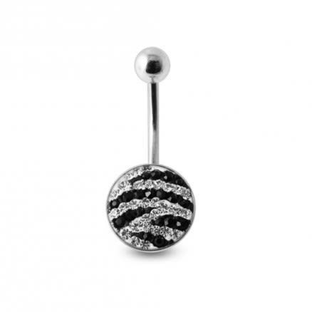 White And Black Crystal stone Jeweled Curved Navel Ring with steel Base