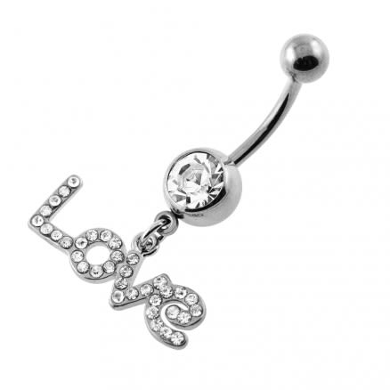 Dangling Jeweled LOVE Navel Belly Ring