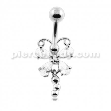 Jeweled Butterfly with Dandling Tail Belly Button Piercing