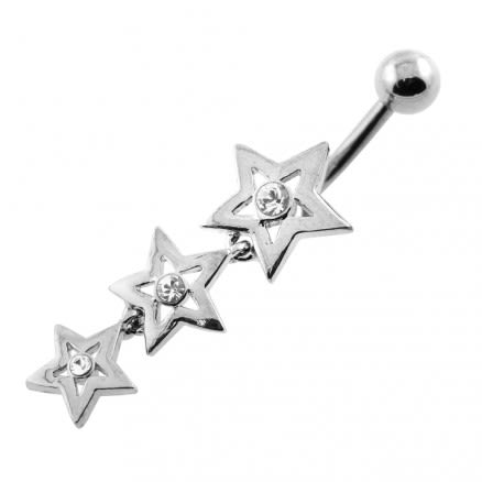 Jeweled Tri Star Belly Button Piercing