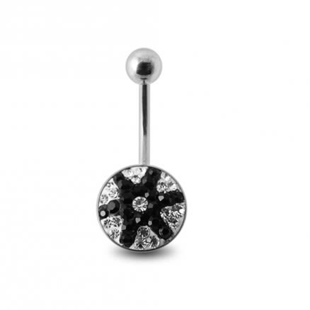 Black And White Crystal stone Star Fish Banana Navel Ring with steel Base