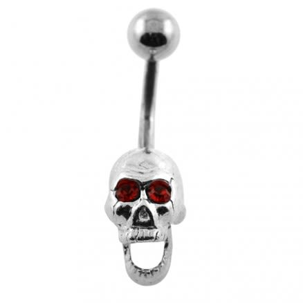Laughing Red Eye Skull Belly Button Piercing