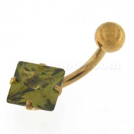 8mm Jeweled Square Gold PVD Belly button Ring