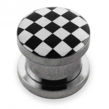Checker Logo With SS Screw Fit Ear Tunnel