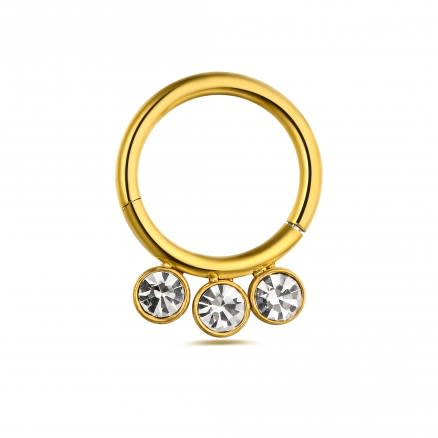 3 CZ Stones in Bezel Set Hinged Segment Clicker Ring