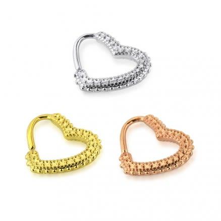 Tribal Dots Heart Cartilage Single Closure Daith piercing Ring