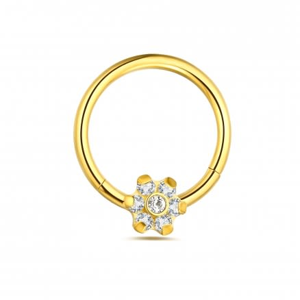 Hinged Segment Clicker Ring with Floral Flower