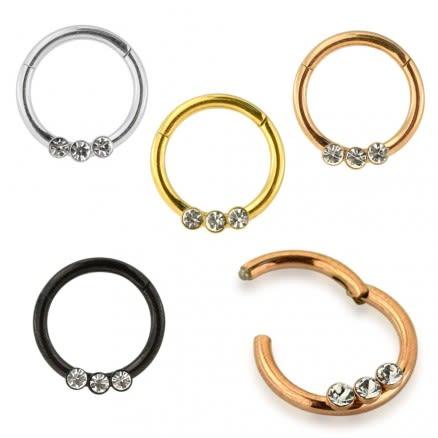 Tri CZ Jeweled Classic Segment Clicker Ring