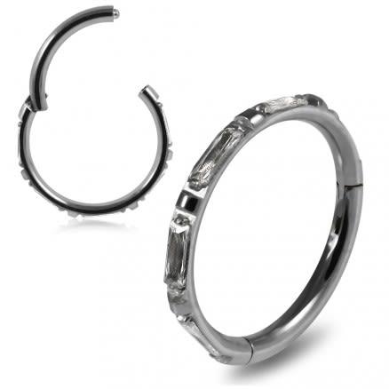 Inlaid Crystal Seamless Hinged Clicker Segment Ring