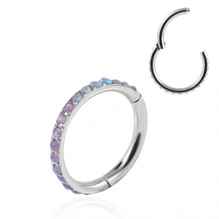 Inlaid Opal Seamless Hinged Clicker Segment Ring