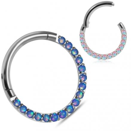 Pave Seamless with Opal Stone Hinged Clicker Segment Ring