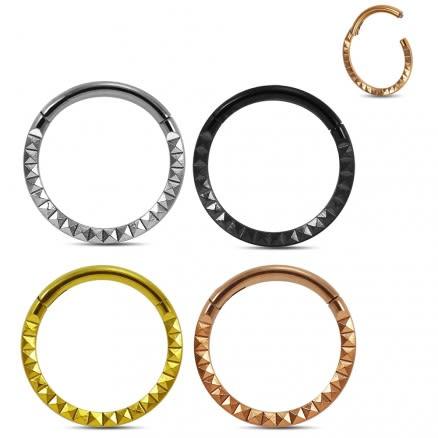 Pyramid laser Cut Design Hinged Segment Clicker Ring