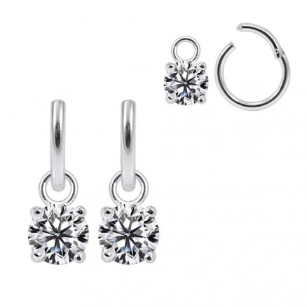 925 Sterling Silver Fancy Round Jeweled  Hanging with Hinged Clicker Earrings