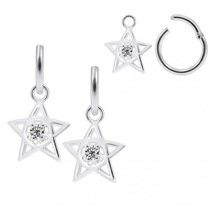 925 Sterling Silver Round CZ In center Jeweled Star Hanging with Hinged Clicker Earrings