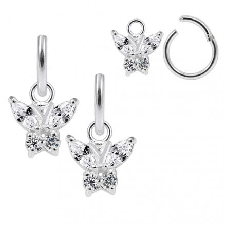 925 Sterling Silver Jeweled Butterfly Hanging with Hinged Clicker Earrings