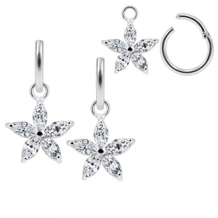 925 Sterling Silver Jeweled Flower Hanging with Hinged Clicker Earrings
