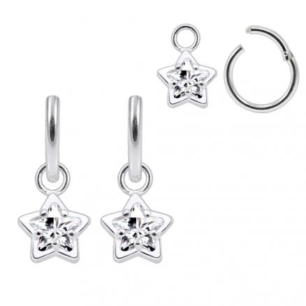 925 Sterling Silver Jeweled Star CZ Hanging with Hinged Clicker Earrings