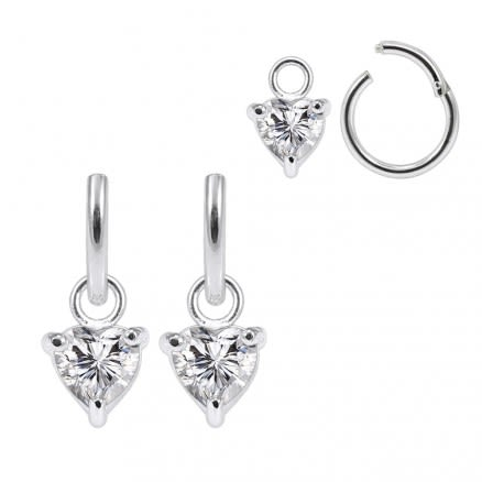 925 Sterling Silver Jeweled Heart CZ Hanging with Hinged Clicker Earrings