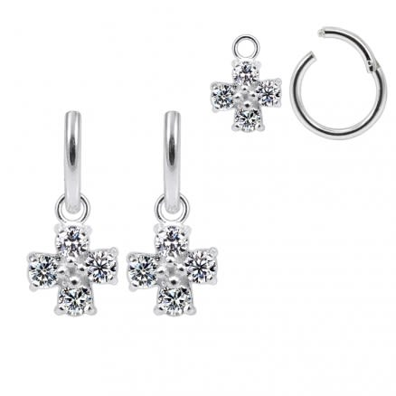 925 Sterling Silver Jeweled Irish Cross Hanging with Hinged Clicker Earrings